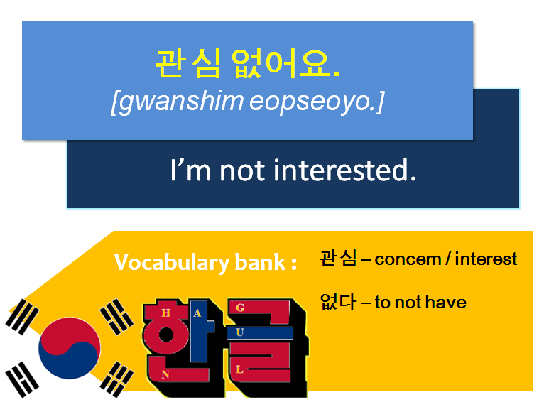 How to say it not in korean